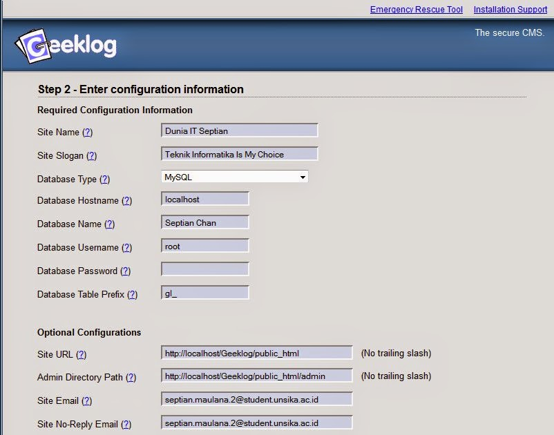 Cara Daftar Geeklog CMS
