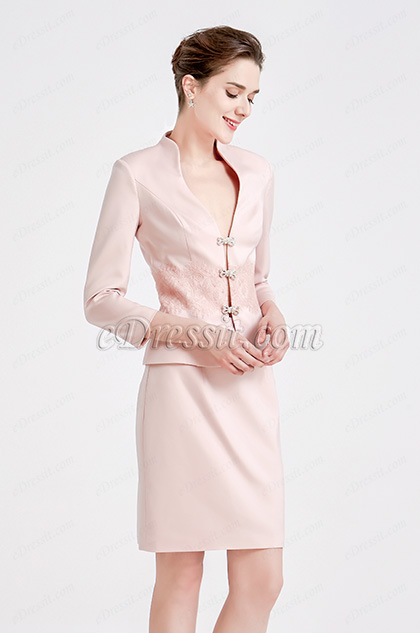 Pink Two Pieces Suit Mother of the Bride Dress