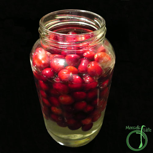 Morsels of Life - Sugared Cranberries Step 3 - Place cranberries in a jar, and then pour sugar solution over cranberries. Allow cranberries to soak overnight.