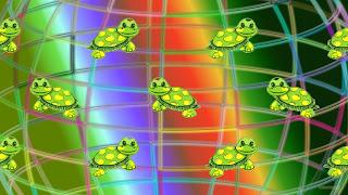Vrolijk gekleurde schildpad patroon wallpaper