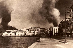 9 April 1941 worldwartwo.filminspector.com Thessaloniki Greece smoke harbor