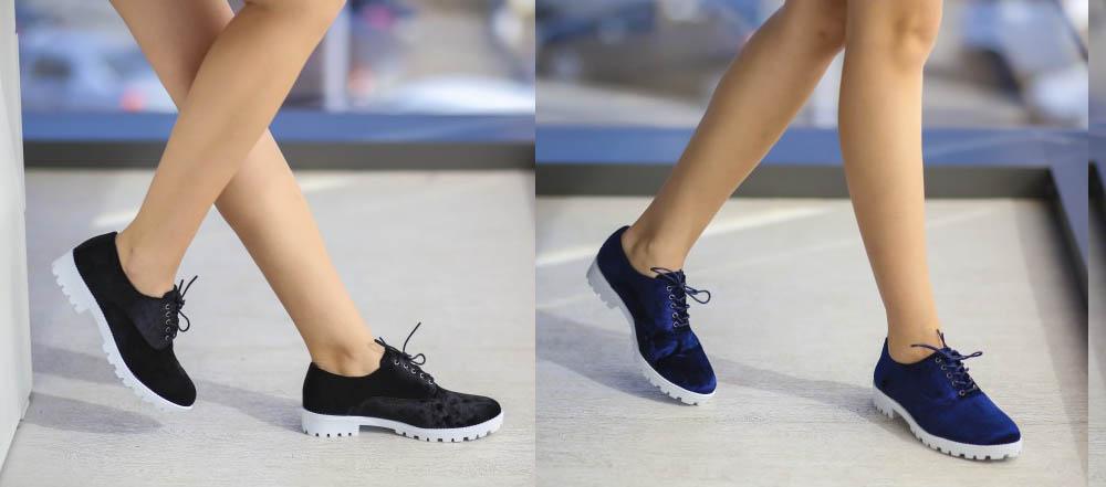 Pantofi casual de catifea pentru femei negri, bleumarin ieftini
