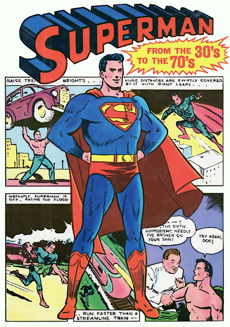 Cover to 'Superman from the Thirties to the Seventies' showing Man of Steel in heroic pose in front of color panels from earliest Superman stories