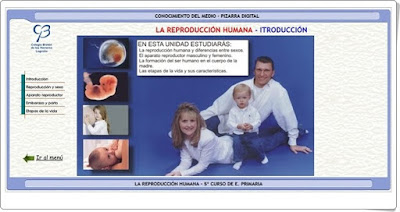"""""""La reproducción humana"""" (Aplicación interactiva de Ciencias Naturales de Primaria)"""
