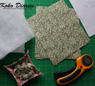 green fabric rectangles