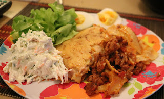 Lasagne with home made coleslaw and duck eggs