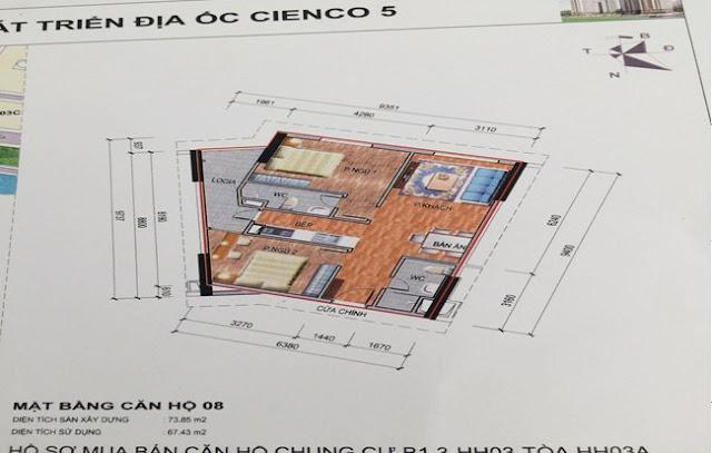 Sơ đồ thiết kế căn hộ 08 chung cư B1.3 HH03A Thanh Hà Cienco 5