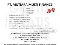 LOWONGAN  KERJA PT. MUTIARA MULTI FINANCE