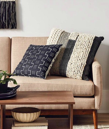 Black and white knit pillows from target