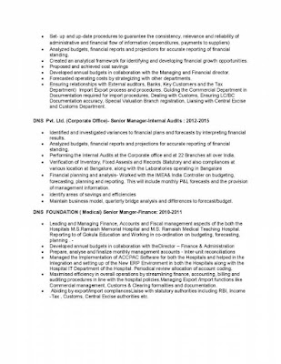 Finance Head Resume 2
