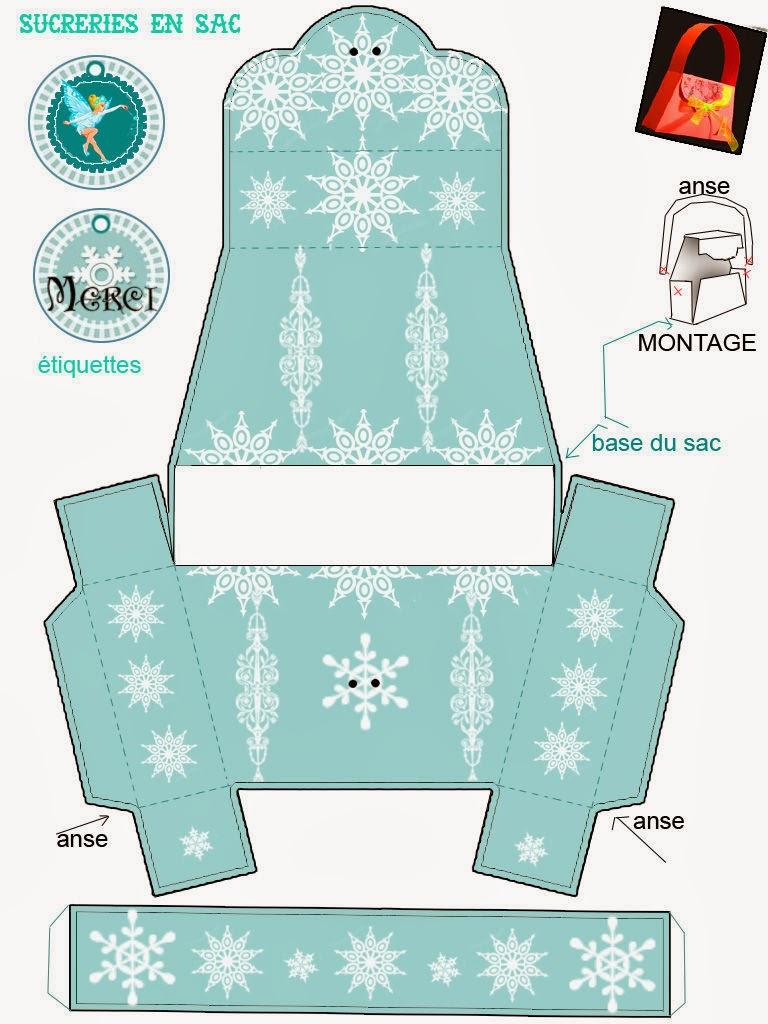 frozen  free printable snowflakes purse