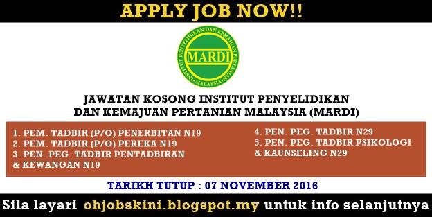 Jawatan Institut Penyelidikan dan Kemajuan Pertanian Malaysia (MARDI)