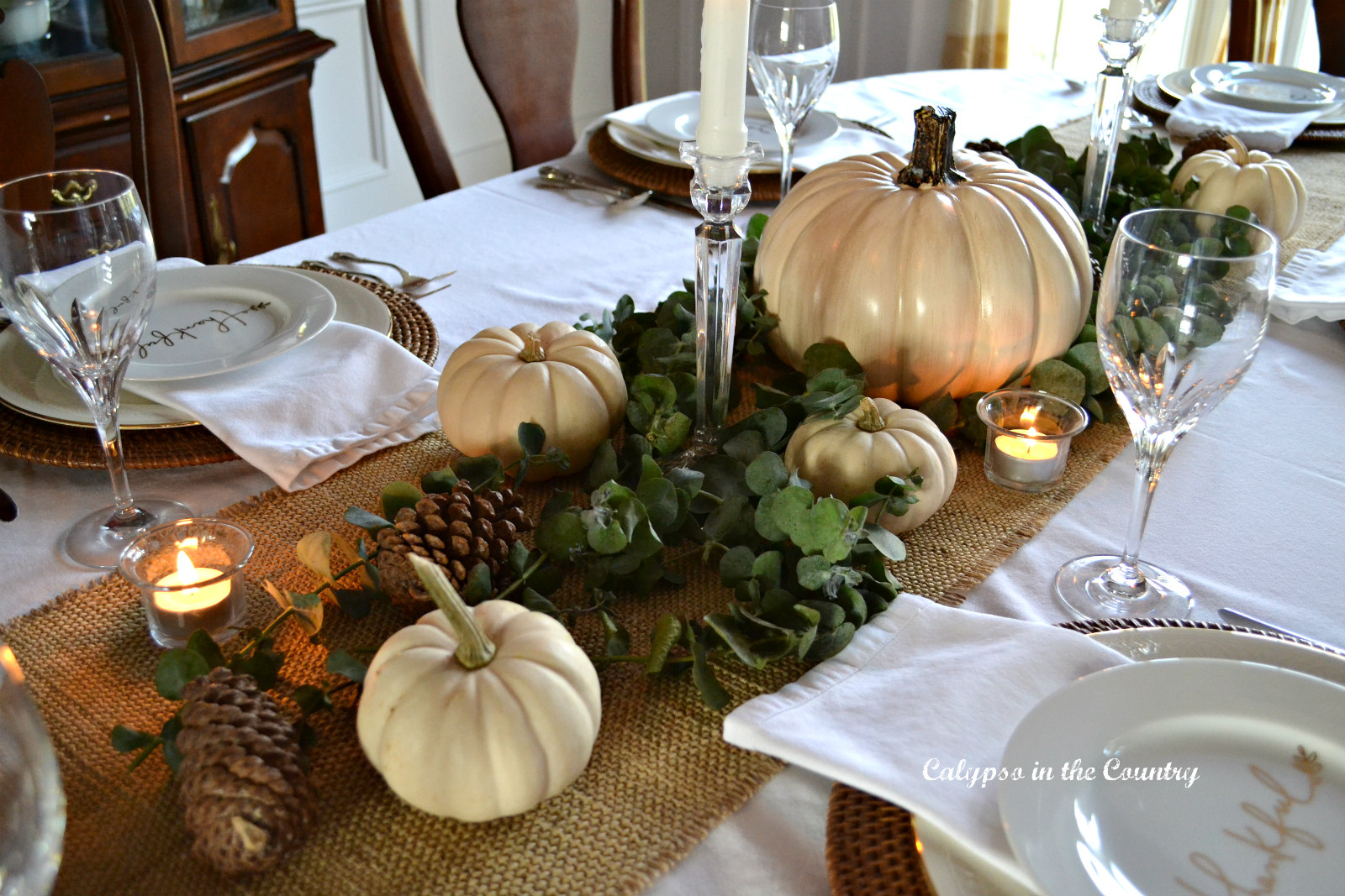 Thanksgiving Table mixing casual and formal pieces