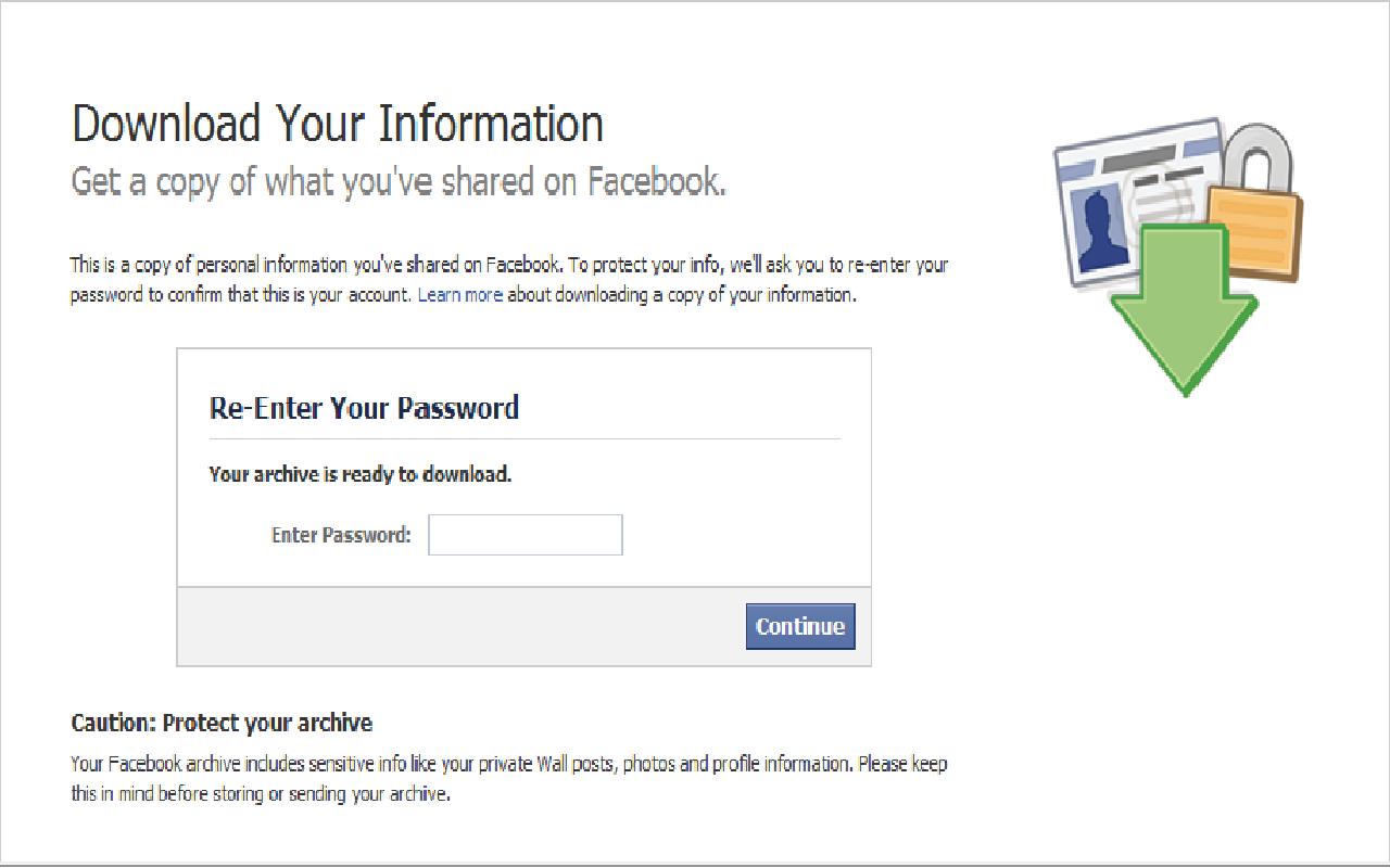 Download file .zip chứa toàn bộ hoạt động bạn đã tham gia trên Facebook