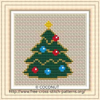 Mini Christmas Ornament 1, Free and easy printable cross stitch pattern