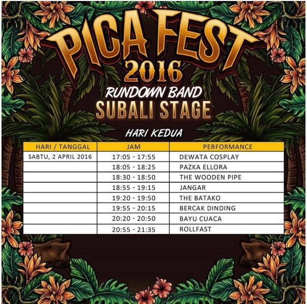 Jadwal PICA Fest 2016