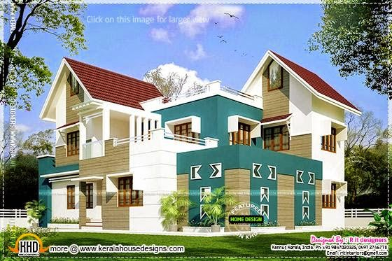 Modern sloping roof house in 2863 square feet - Kerala ...