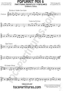 Mix 6 Partitura de Clarinete Estaba el Señor Don Gato, Todos los Patitos, Qué llueva Infantil, El Conde Olinos Mix 6 Sheet Music for Clarinet Music Score