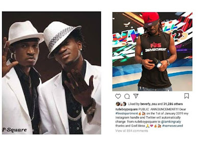No Hope For a Psquare Comeback As One Of the Duo Set To Permanently Change Name.