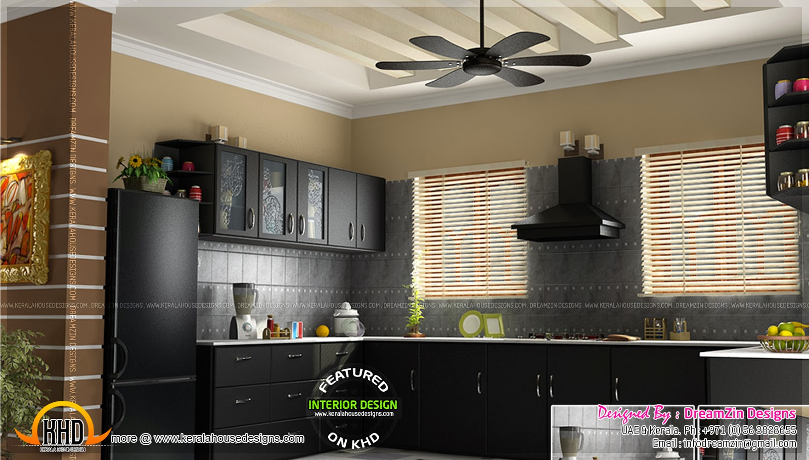 Kitchen interior dining area design home kerala plans for Interior decoration modular kitchen