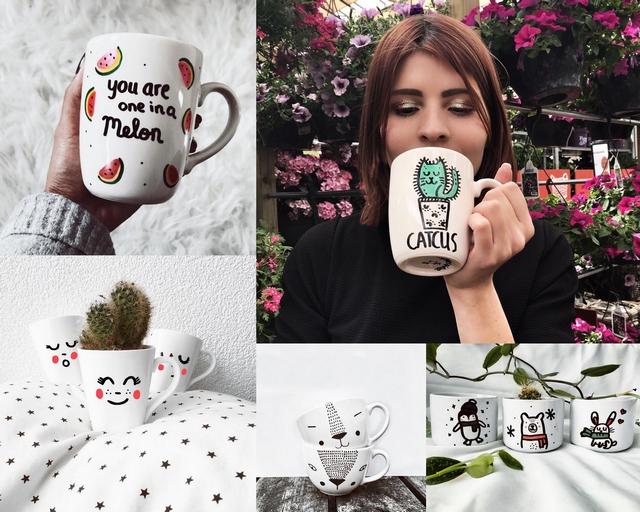 Hand beschilderde mokken met quotes figuren en gezichtjes door Sabina de Bleijser van Mugsterpiece. Blog make people stare