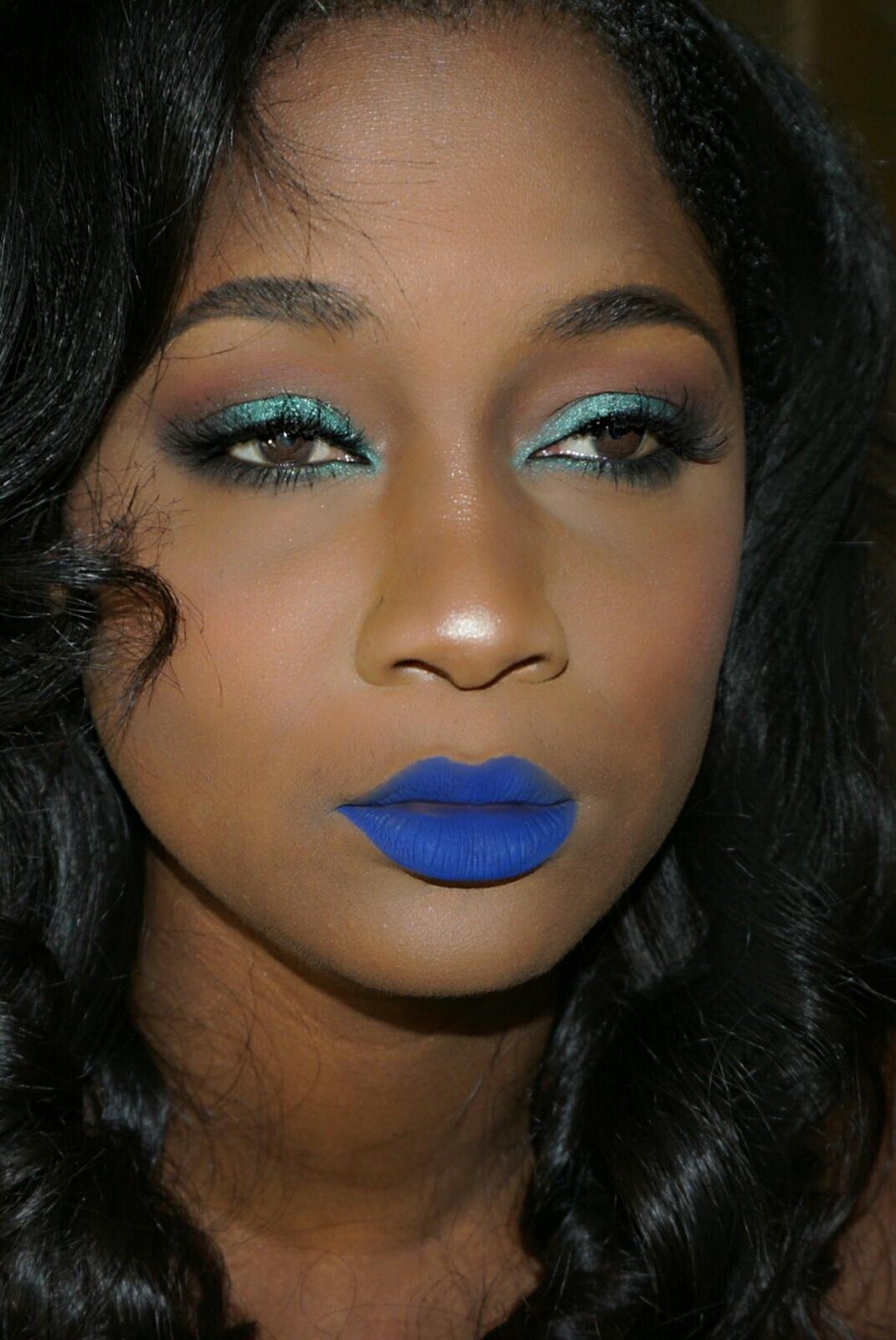 Blue Liquid Lipstick on Dark Skin