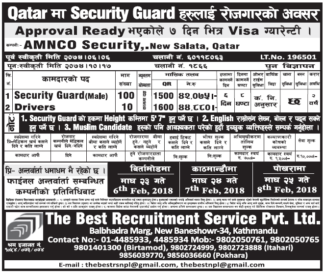 Jobs in Qatar for Nepali, Salary Rs 44,880