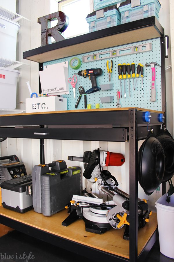 Garage workbench with large storage shelf