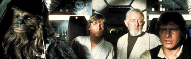 Chewaca, Luke Skywalker, Obi Wan Kenobi y Han Solo, algunos de los principales protagonistas de Star Wars (1977)