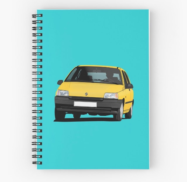 Redbubble Renault Clio illustration - yellow papers
