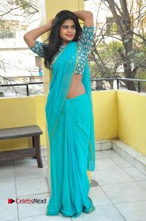 Telugu Actress Alekhya Stills in Green Saree at Swachh Hyderabad Cricket Press Meet  0081.JPG