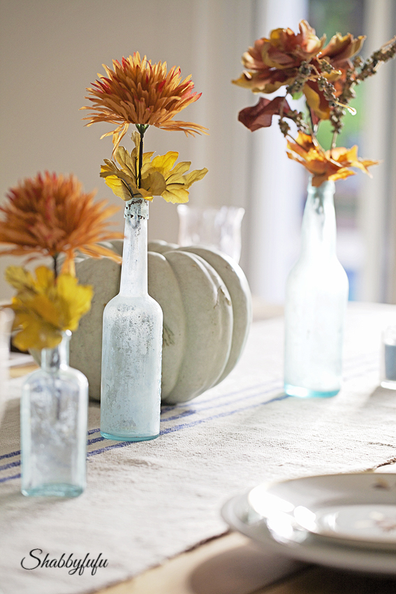 aqua bottles thanksgiving table setting