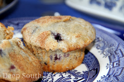 Blueberry muffins made with both mashed and whole blueberries and topped with cinnamon sugar.