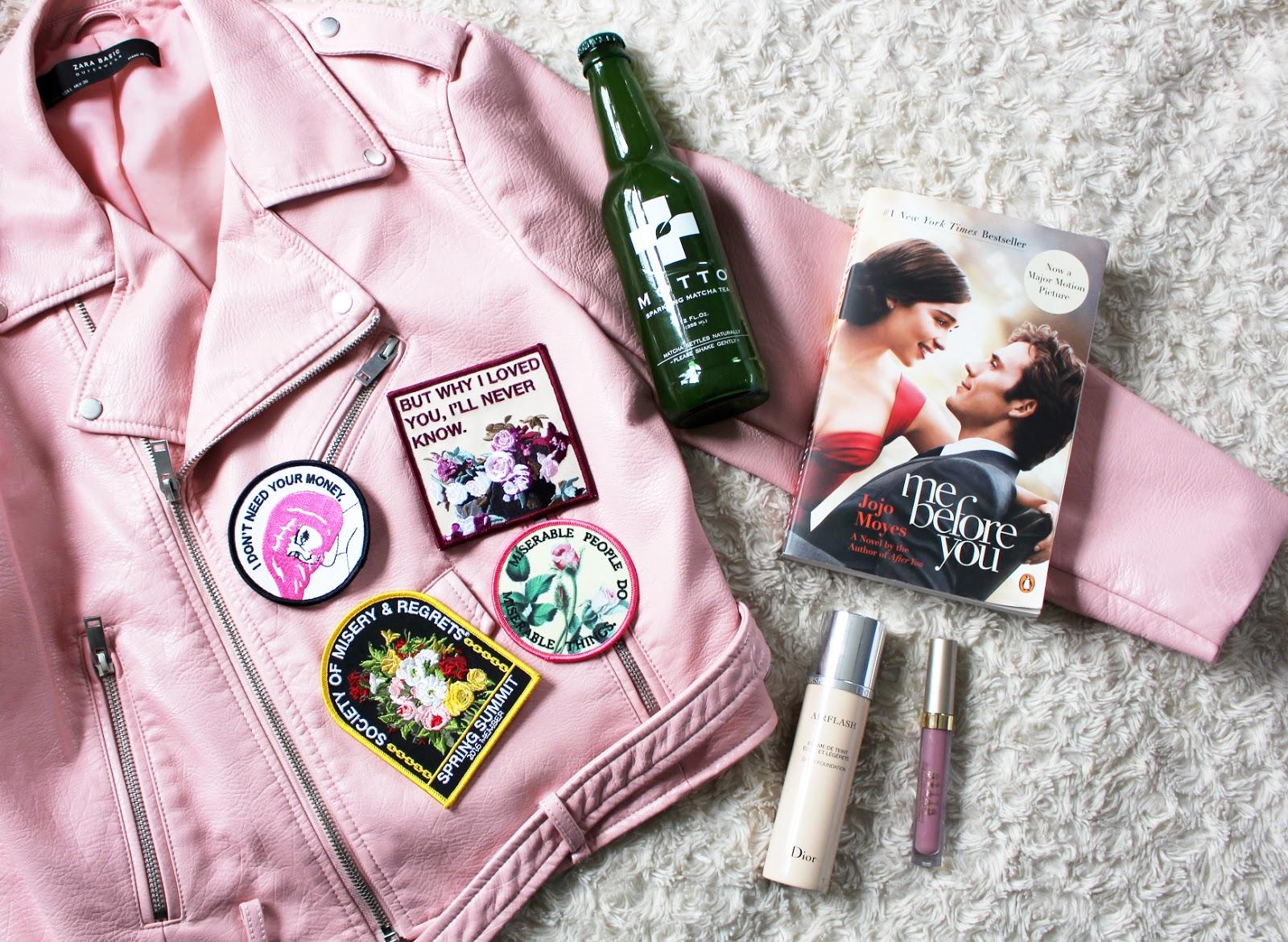 july favorites, dior airflash foundation, stila liquid lipstick baci, motto matcha, me before you, zara pink leather jacket