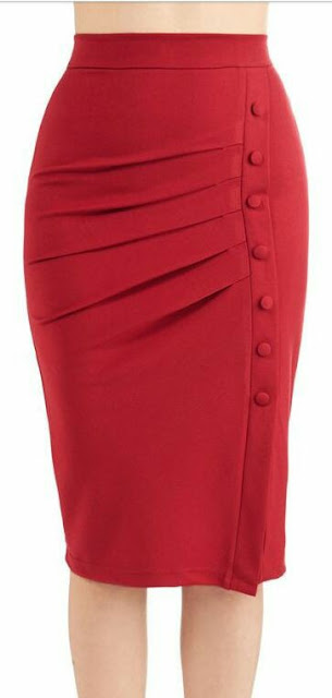 Red side button mid skirt