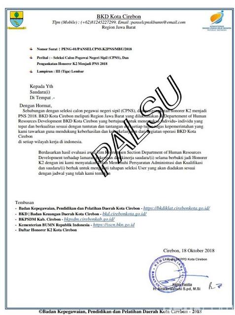 Surat Palsu Penerimaan CPNS di Cirebon
