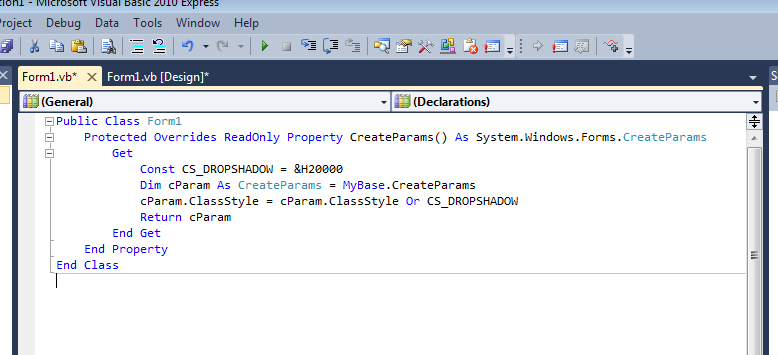 VB NET Drop Shadow At The Form Border   Ultimate Programming