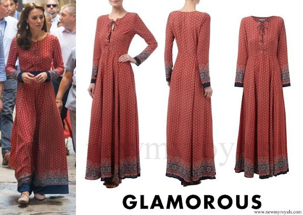 Kate Middleton wore Glamorous Red Navy Border Print Lace Up Maxi Dress, Jewels, Accessorize Earrings