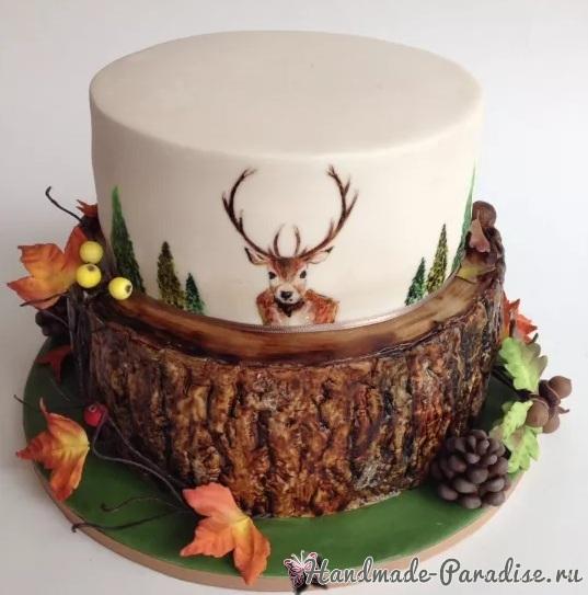 3D торт лесной тематики из сахарной мастики (3)
