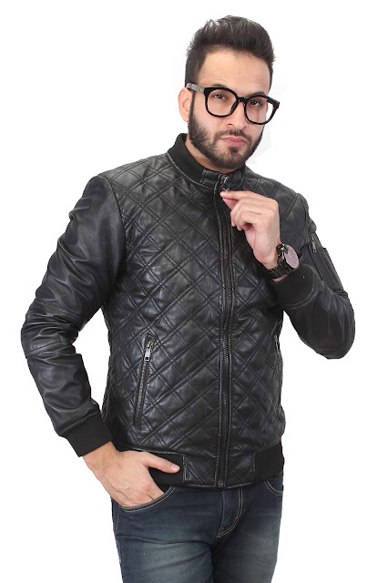 BLACK MENS LEATHER JACKET BY BARESKIN