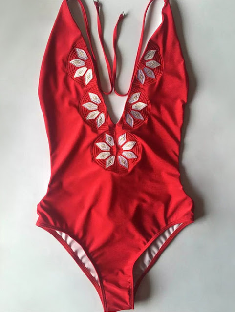 RED FLORAL DEEP V ONE PIECE SWIMWEAR