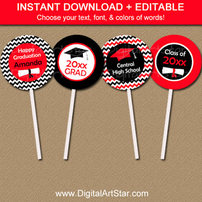red and black chevron graduation cupcake toppers - editable template