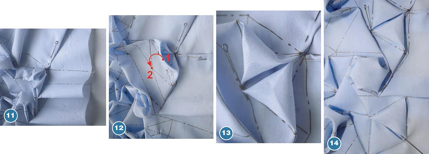 Фигурные буфы. Композиция из треугольников и шестиугольников