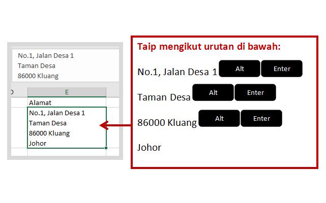 Microsoft Excel: Cara menaip alamat