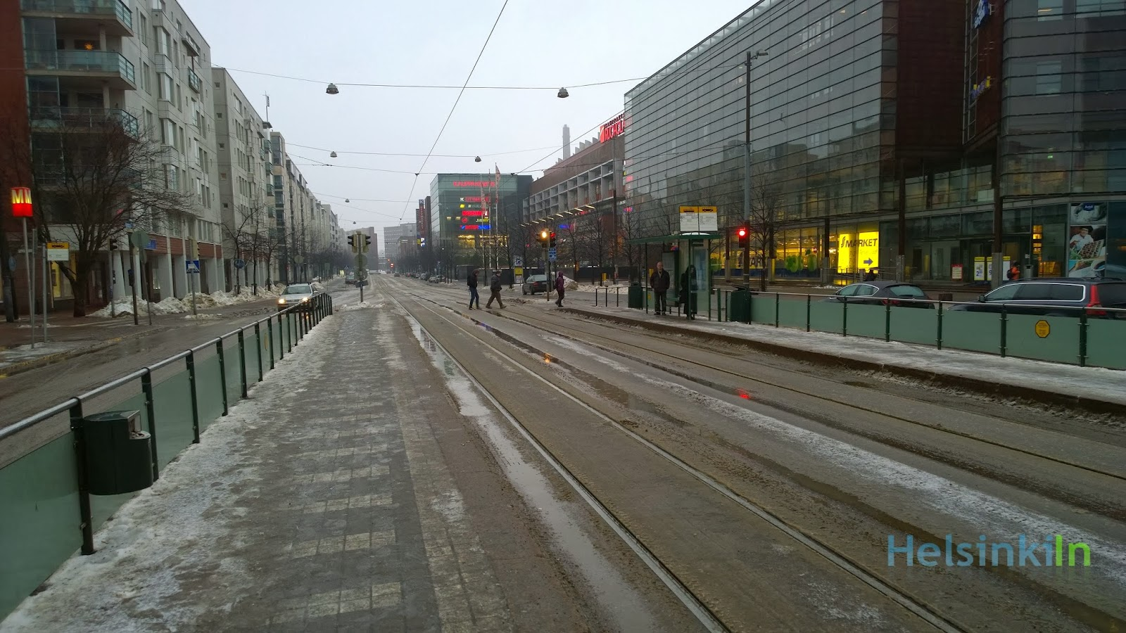 slush on the streets in Helsinki