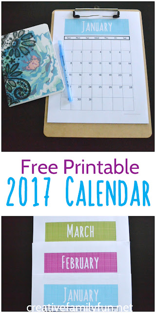 Grab your free printable 2017 Calendar. It's great monthly overview for organizing all your family activities.