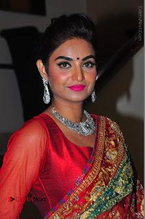 Model Sharon Fernandes Stills in Red Saree at Trendz Exhibition Launch  0024.JPG