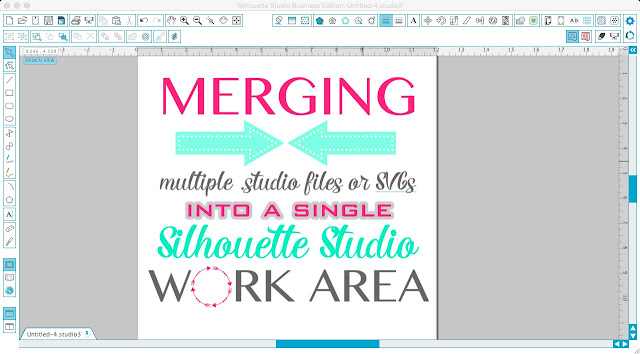 Silhouette tutorial, Silhouette Studio, merging multiple studio files, merging SVGs, single work area