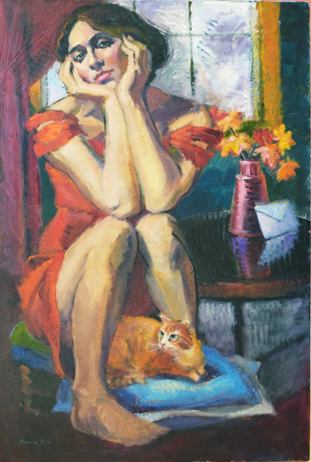 Ginger Woman Cat Figurative Girl Painting Woman Art