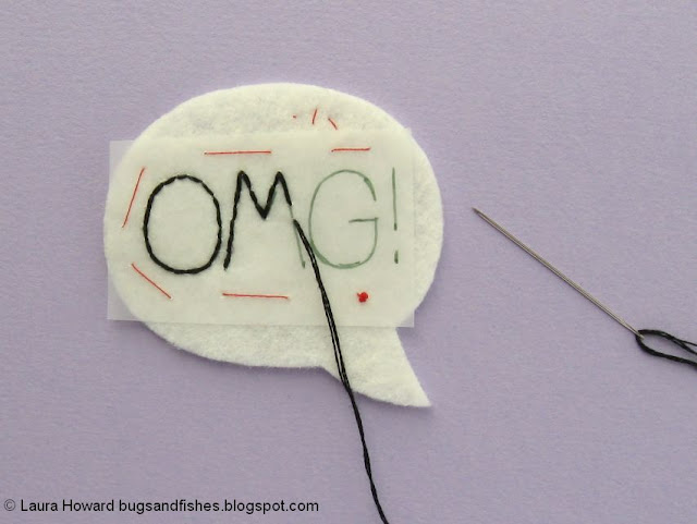 embroidering the felt speech bubble